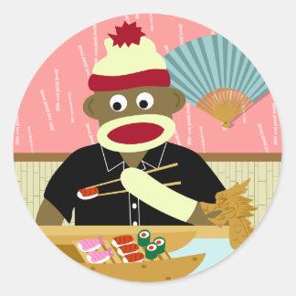 Sock Monkey Sushi Round Sticker