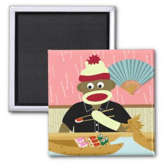 Sock Monkey Sushi Square Magnet