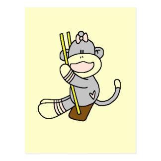Sock Monkey Swinging T-shirts and Gifts Postcard