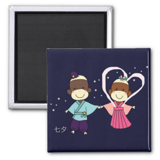 Sock Monkey Tanabata Magnet(Square) Square Magnet