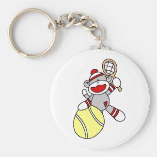 Sock Monkey Tennis Basic Round Button Key Ring