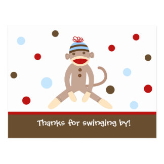 Sock Monkey Thank Your note Card  Postcards