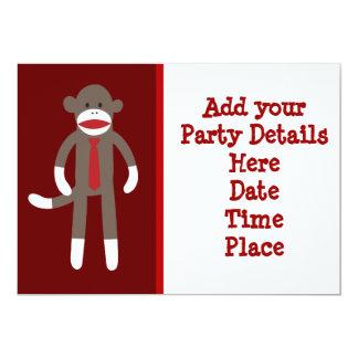 Sock Monkey Tie Custom Party Invitations Template