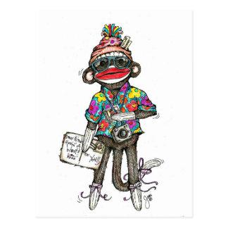 Sock Monkey Tourist Postcard