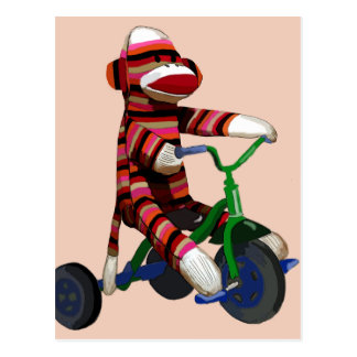 Sock Monkey Tricycle Postcard
