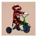 Sock Monkey Tricycle Poster