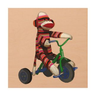 Sock Monkey Tricycle Wood Print