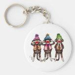 Sock Monkey Trio - See, Hear, Speak No Evil Keychain