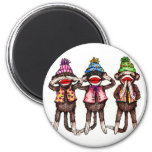Sock Monkey Trio - See, Hear, Speak No Evil Refrigerator Magnet
