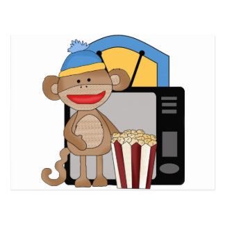 Sock monkey tv postcard