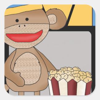 Sock monkey tv square sticker