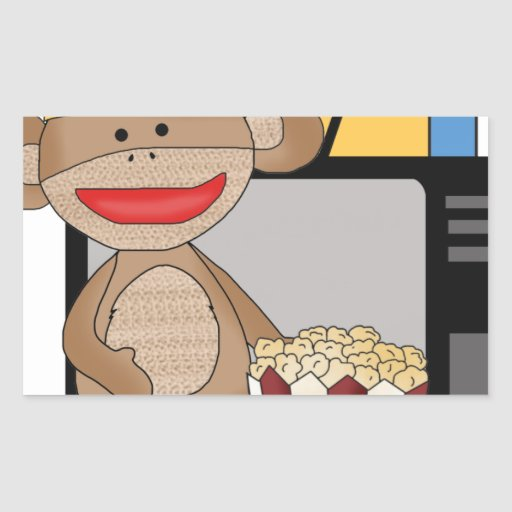 Sock monkey tv rectangle stickers