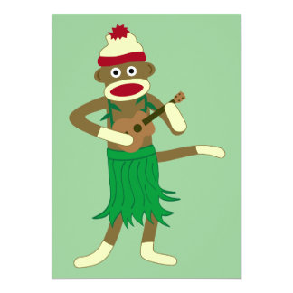 Sock Monkey Ukulele 13 Cm X 18 Cm Invitation Card