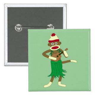 Sock Monkey Ukulele 15 Cm Square Badge