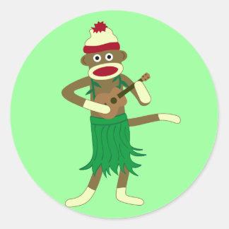 Sock Monkey Ukulele Classic Round Sticker