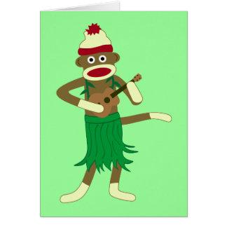 Sock Monkey Ukulele Greeting Card
