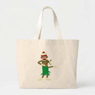 Sock Monkey Ukulele Large Tote Bag
