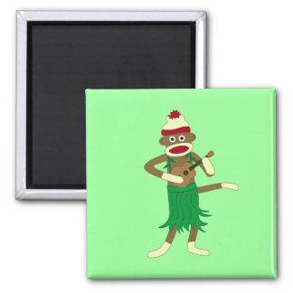 Sock Monkey Ukulele Square Magnet