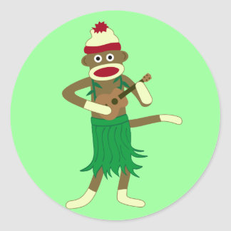 Sock Monkey Ukulele Round Sticker
