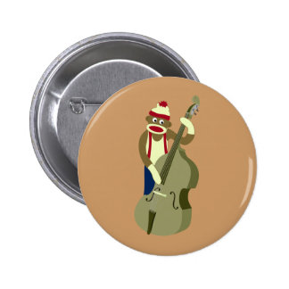 Sock Monkey Upright Bass Player 6 Cm Round Badge