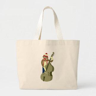 Sock Monkey Upright Bass Player Canvas Bag
