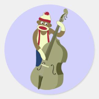 Sock Monkey Upright Bass Player Round Sticker