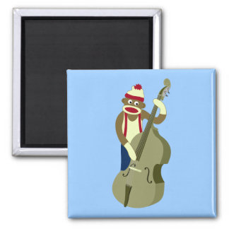 Sock Monkey Upright Bass Player Square Magnet