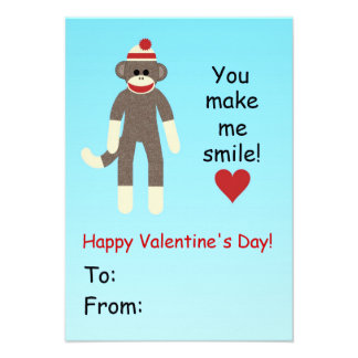 Sock Monkey Valentine s Day card for kids