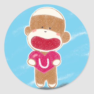 Sock Monkey Valentine Sticker