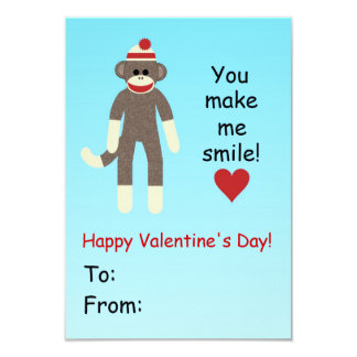 "Sock Monkey Valentine's Day card for kids 3.5"" X 5"" Invitation Card"