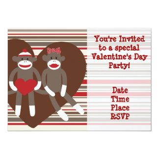"Sock Monkey Valentine's Day Party Invitations 5"" X 7"" Invitation Card"