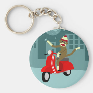 Sock Monkey Vespa Scooter Key Ring