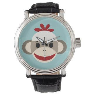Sock Monkey Vintage Black Leather Strap Watch