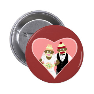Sock Monkey Wedding 6 Cm Round Badge
