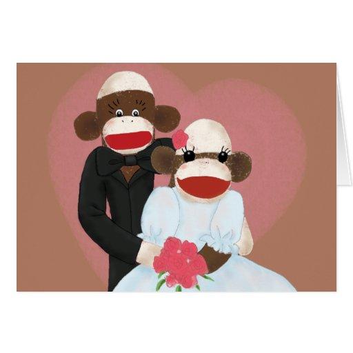 Sock Monkey Wedding(Bowty & Violet) Card