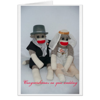 Sock monkey Wedding card