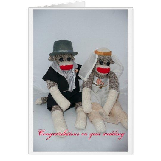 Sock monkey Wedding card