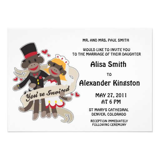 SOCK MONKEY Wedding Invitations Announcements