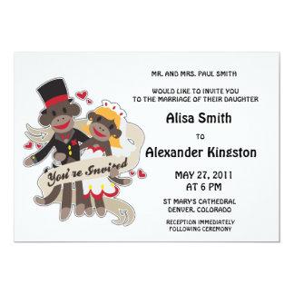 "SOCK MONKEY Wedding Invitations Announcements 5"" X 7"" Invitation Card"