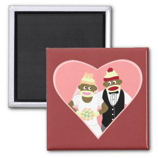 Sock Monkey Wedding Magnet
