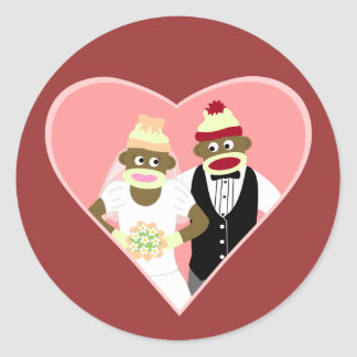 Sock Monkey Wedding Round Sticker