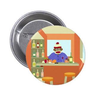 Sock Monkey Wine Taster 6 Cm Round Badge