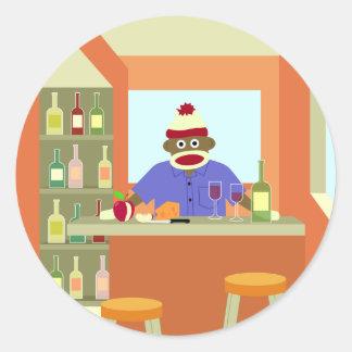 Sock Monkey Wine Taster Round Sticker