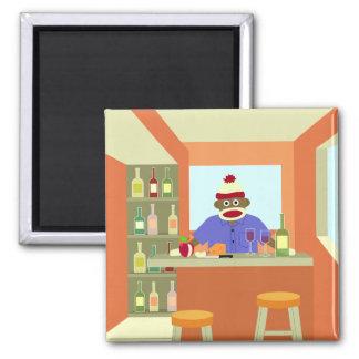 Sock Monkey Wine Taster Square Magnet