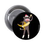 Sock Monkey with Banana Swords Pin