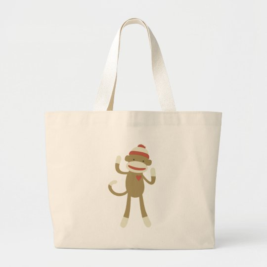 Sock monkey with heart large tote bag