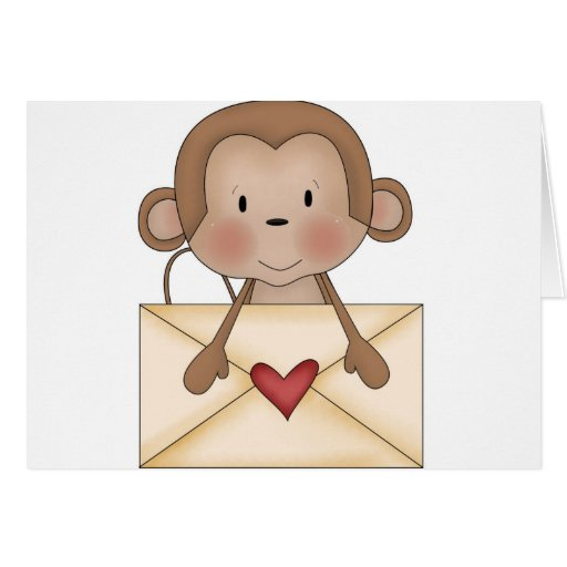 Sock monkey with love letter greeting card