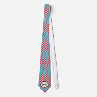 Sock Monkey with pink, red, blue argyle neck tie