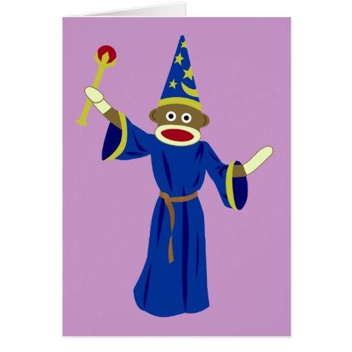 Sock Monkey Wizard Greeting Cards