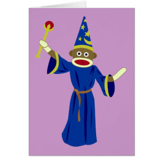 Sock Monkey Wizard Greeting Card